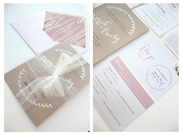Blush and Kraft Paper Wedding Invitations - Emily Roeder Design