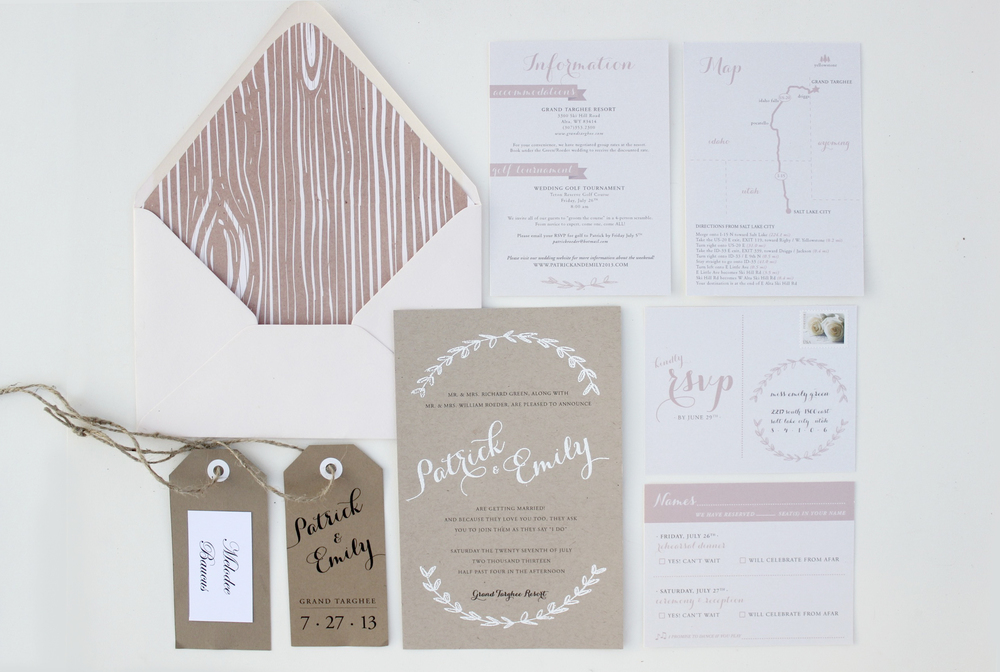 Blush and Kraft Paper Wedding Invitation - Emily Roeder Design