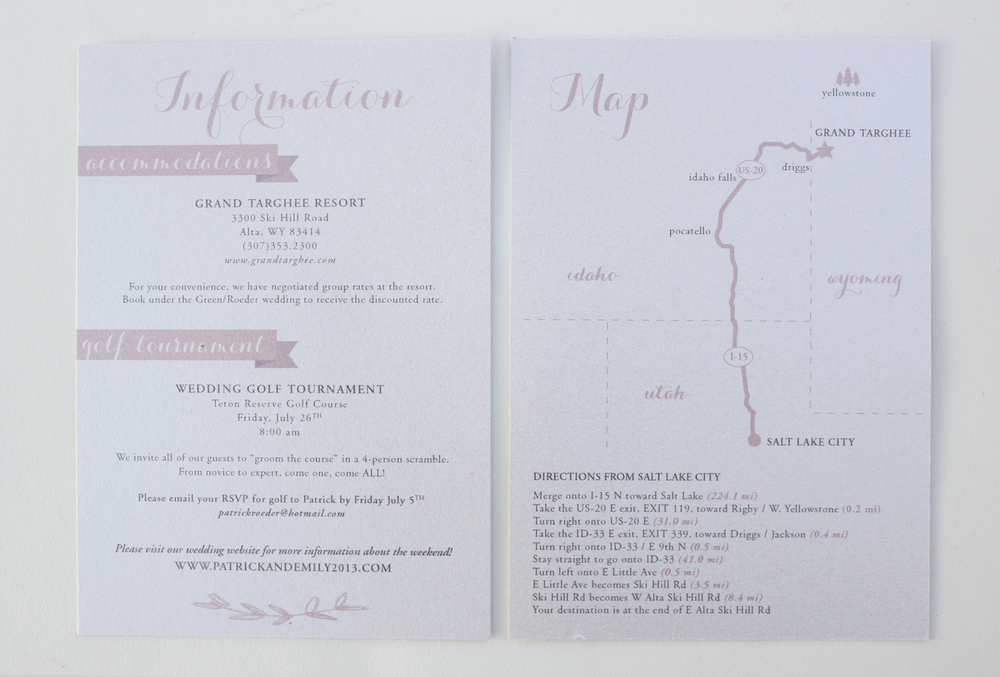 Blush and White Wedding Invitation: Map & Accommodations - Emily Roeder Design