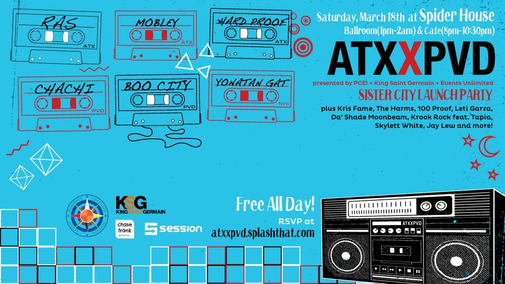 I am super excited to announce that DJ Cadillac Jack and I will make our SXSW debut in Austin, TX this Saturday at Spiderhouse Ballroom for a free all day/nigh concert!!!  We will be performing a mix of new, old, hip hop, afro house, genre defying blend of sounds.  I hope you find time to come check us out.  We have a few little tricks up the sleeves.  We hope to make Rhode Island proud by representing for our hometown down in Texas.  Big shout out to King Saint Germain and PCEI for including us in such an amazing experience.  We are ready!!!
