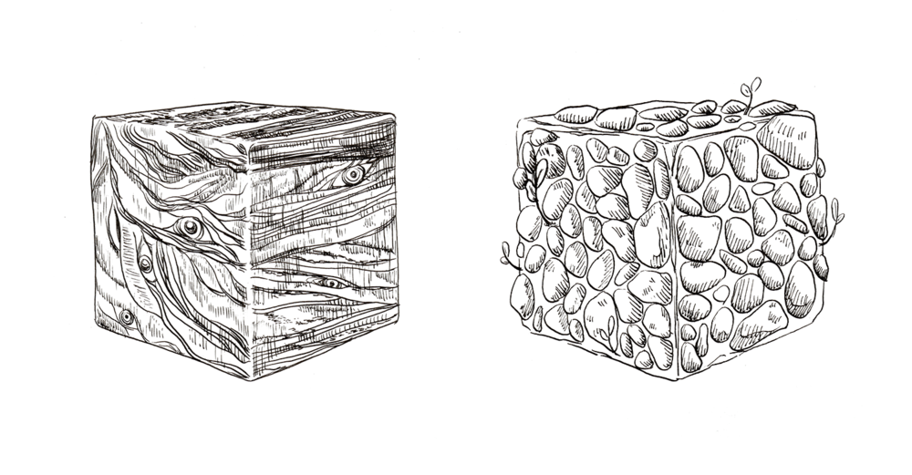 "Cubes. Pen & ink. Approx. 3 x 3"" each."
