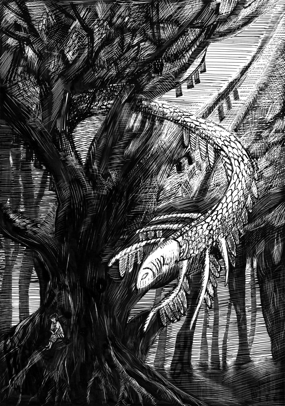 "Hide and Seek. Scratchboard. 5 x 7""."
