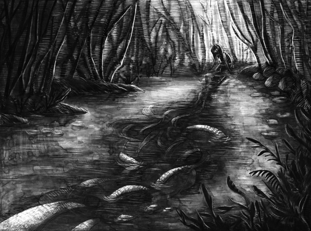 "Watersnake. Ink wash & scratchboard. 9 x 7""."