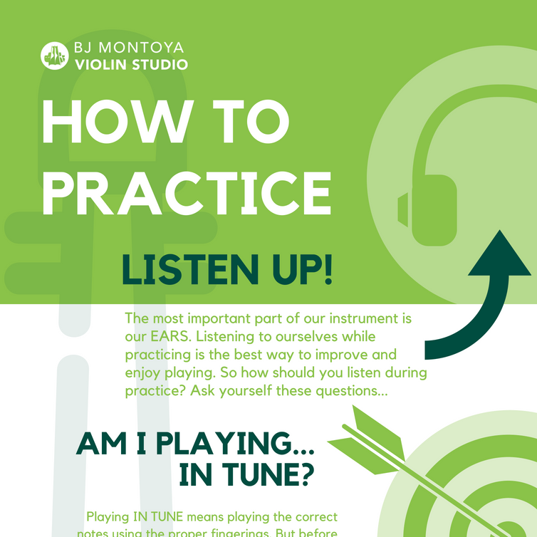 How to Practice Poster - The essence of our deep dive into practicing comes back to the essence of music: listening. When practicing their violin, students have been instructed to ask themselves while playing.Am I playing in tune?Am I playing in time?Am I playing touch?I have provided a more thorough explanation in an infographic that also offers strategies to help tackle tricky spots and break down new tunes.Click to view the full infographic. I am planning to print this in poster format and would be happy to offer prints to families for a small cost.