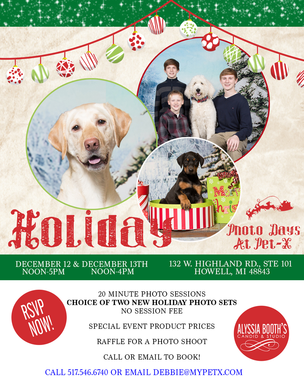 Pet-X Photo Days | Pet and Family Photos With Santa | Alyssia Booth's Candid & Studio | Howell MI