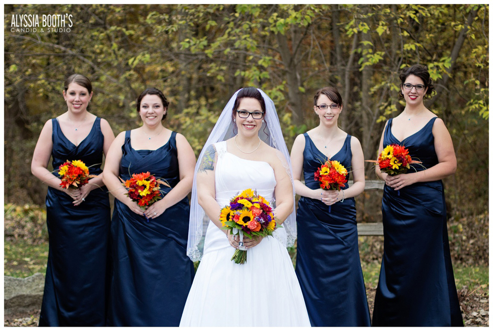 Bride & Bridesmaids | Marisa & Garrett 10.23.15 | Wedding at the Lawton Community Center | Kalamazoo Mi