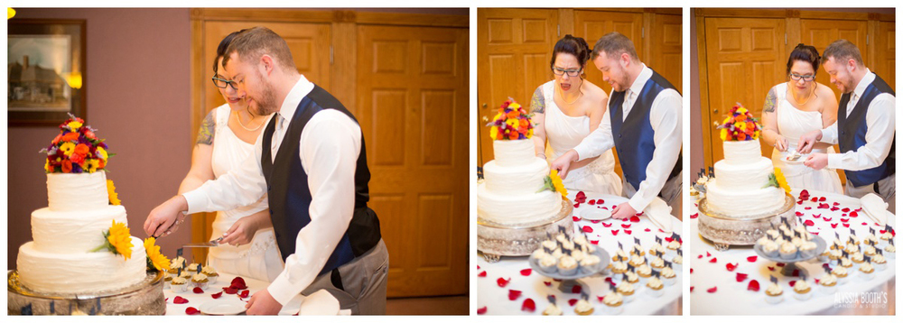 Cake Cutting | Marisa & Garrett 10.23.15 | Wedding at the Lawton Community Center | Kalamazoo Mi | Alyssia Booth's Candid & Studio