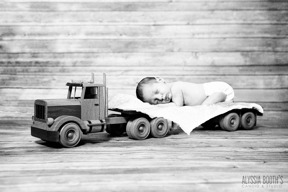 Baby Truck | Toy Semi | Newborn Shoot with Trucks | Baby Boy | Alyssia Booth's Candid & Studio | Lansing Michigan | Studio Shoot
