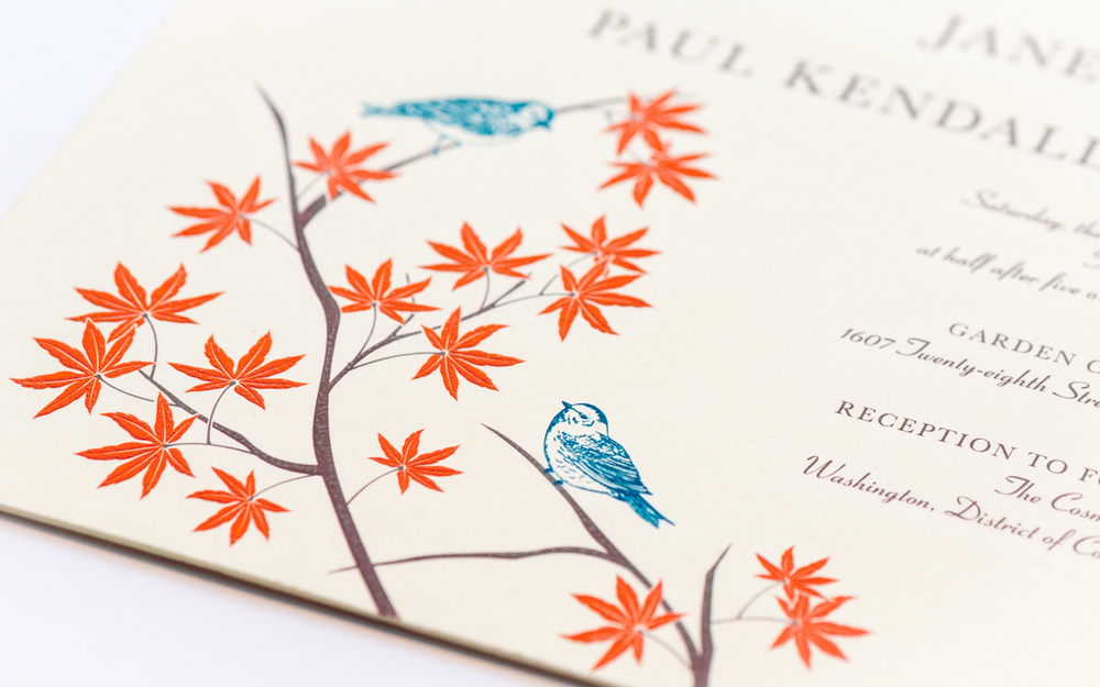 colorful embossed wedding invitation with a nature theme