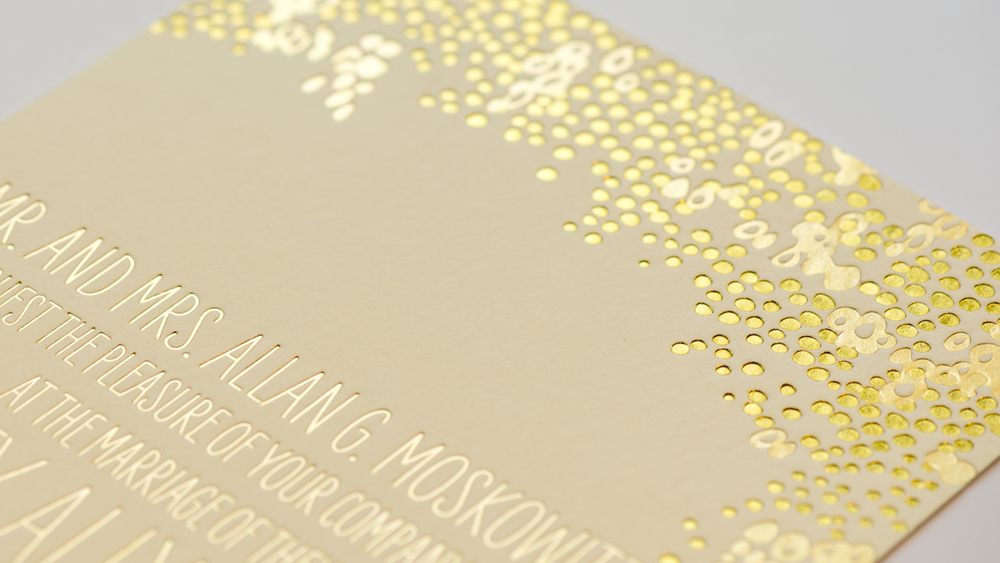 gold metallic letterpress wedding invitation details