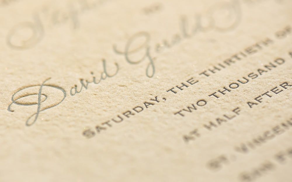 elegant sand colored wedding invitation