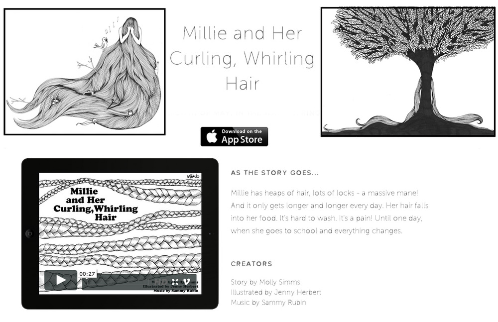 "Illustrations for Mibblio Ipad App & Children's Book ""Mille and Her Curling, Whirling Hair"""