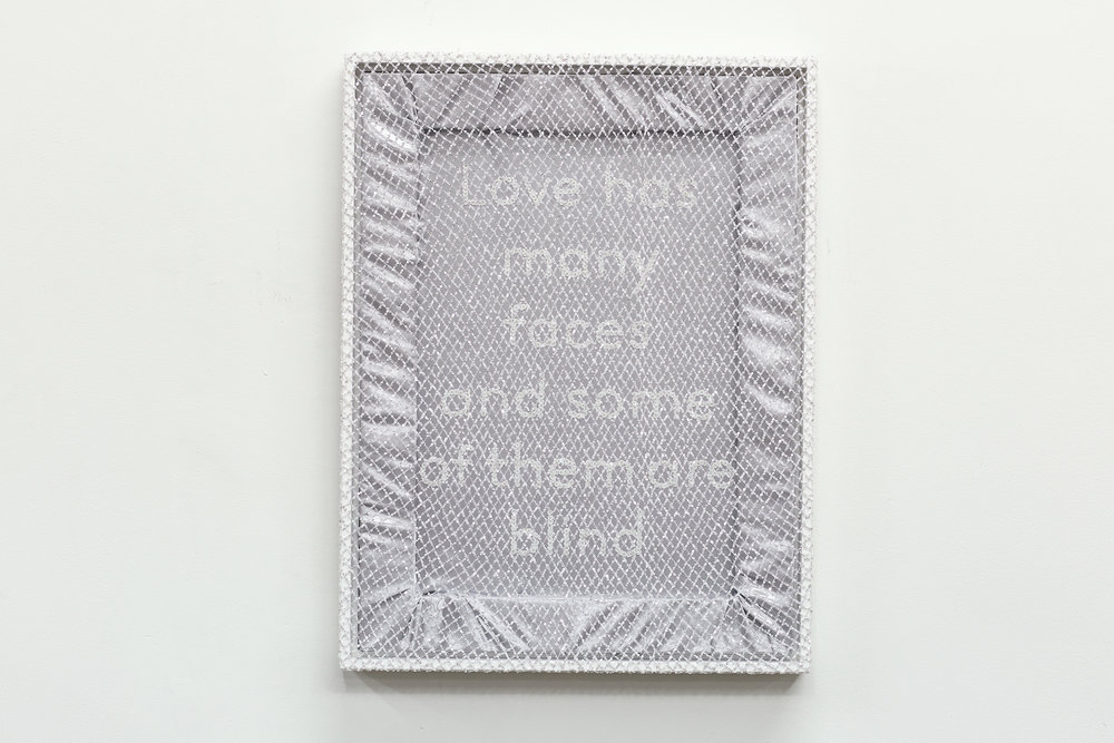 """Love has many faces and some of them are blind  Sequins on sateen with overlay sequined netting 24"""" x 18"""" 2018"""