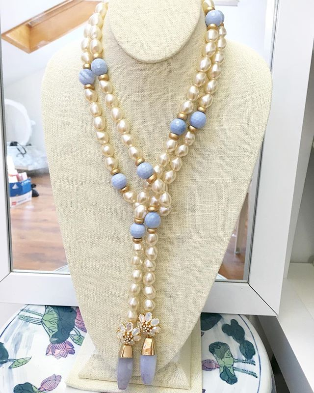 The latest version of our Eloise Lariat Necklace made with baroque pearls and blue lace agate! She will be up on the site shortly! #madamemathilde #statementnecklace #jotd