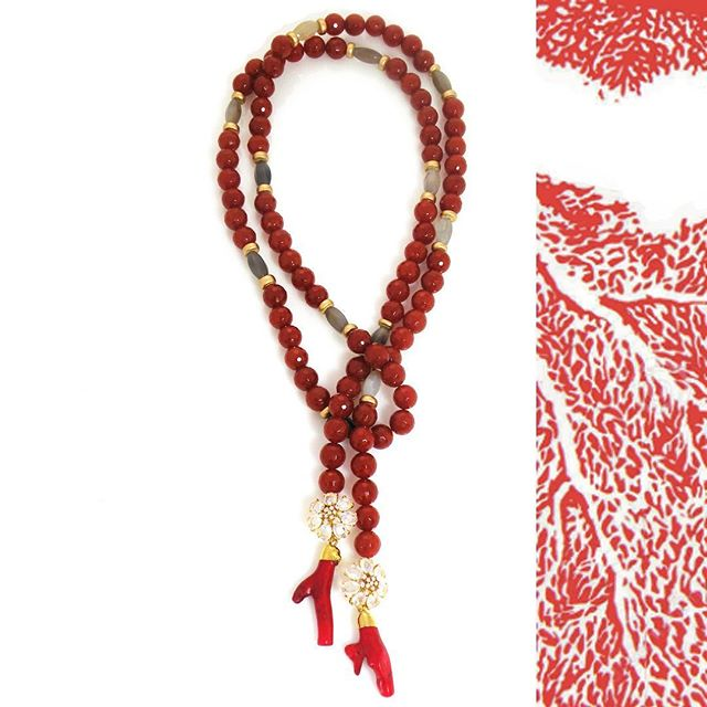 The ultimate Valentine's Day pick!!! Our brand new Coral Eloise Necklace (p.s. First day on site and offered at 20% off through next week for VDay promo and while supplies last...) #madamemathilde #valentinegift #jotd #coral #statementnecklace #accessories