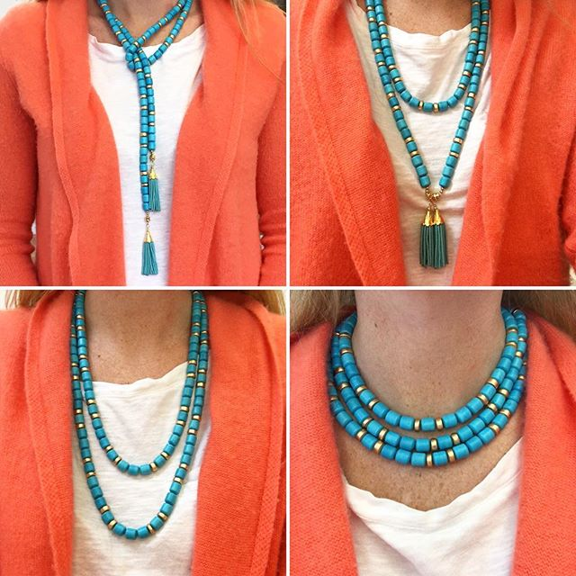 Checkout our new versatile Kara Necklace! With removable tassels it can be worn as a lariat, looped, or as a triple strand ($245) Additional colors are available! #madamemathilde #turquoise #tasselnecklace #statementnecklace #jotd #lariat #summeraccessories