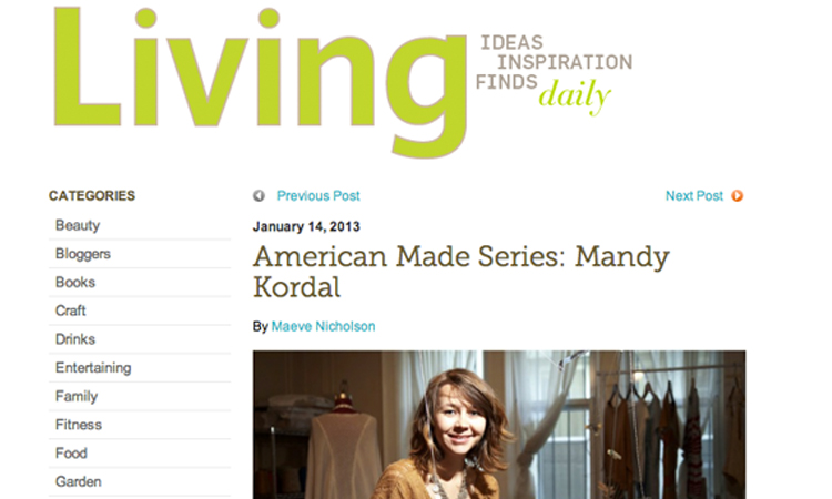 Martha Stewart Living featuring Mandy Kordal in the American Made Series // January 2013
