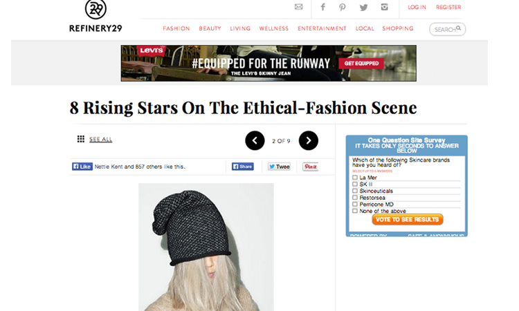 Refinery29 article on 8 Rising Stars on the Ethical-Fashion scene including Kordal in them mix // February 2014