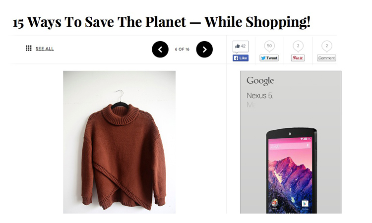 Refinery 29 article on ways to save the planet while shopping, featuring Kordal for our locally made knits // Dec 2013