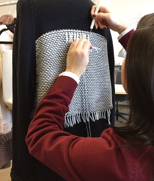 During my second internship with Kordal, fringing a knit cardigan way, way back in the day!