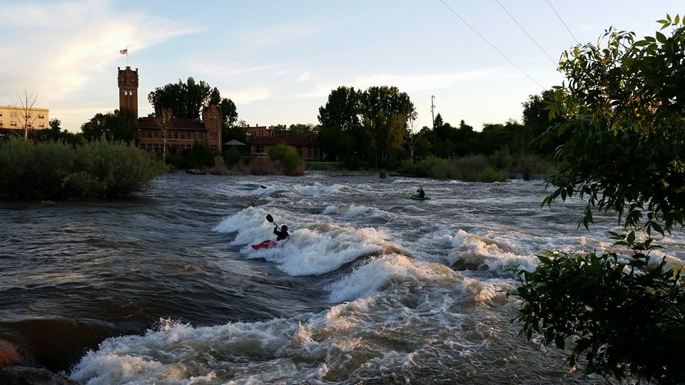 Kayakers at Brennan's Wave in Missoula