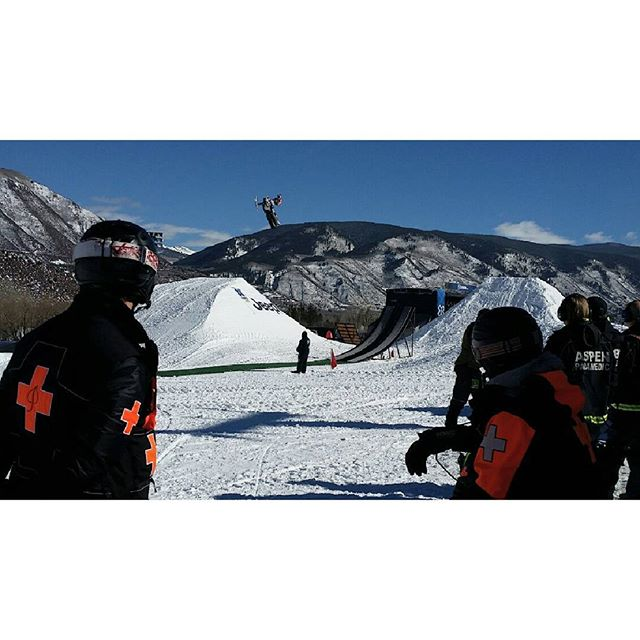 Practice jumps underway on a beautiful bluebird day at Aspen Buttermilk for the 2016 Winter X Games.  #colorfulcolorado #xgames #winterxgames #aspen #colorado #production #productionlife #lifeontheroad #ontheroad #eventlife #snowmobile #freestyle #photooftheday #instagood #instafollow #wanderlust #monsterenergy #aspenbuttermilk #bluebird #nofilter #behindthescenes