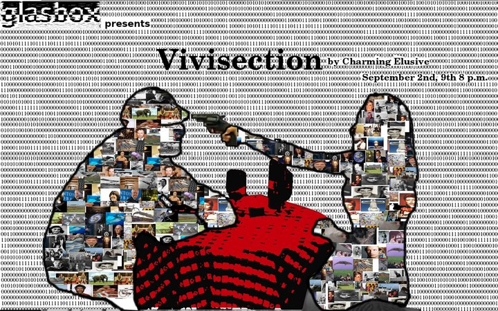 Official Charming Elusive poster for 2011 performance titled Vivisection.