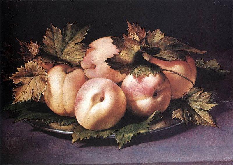 Giovanni Ambrogio Figino, Metal Plate with Peaches and Vine Leaves 1591-94