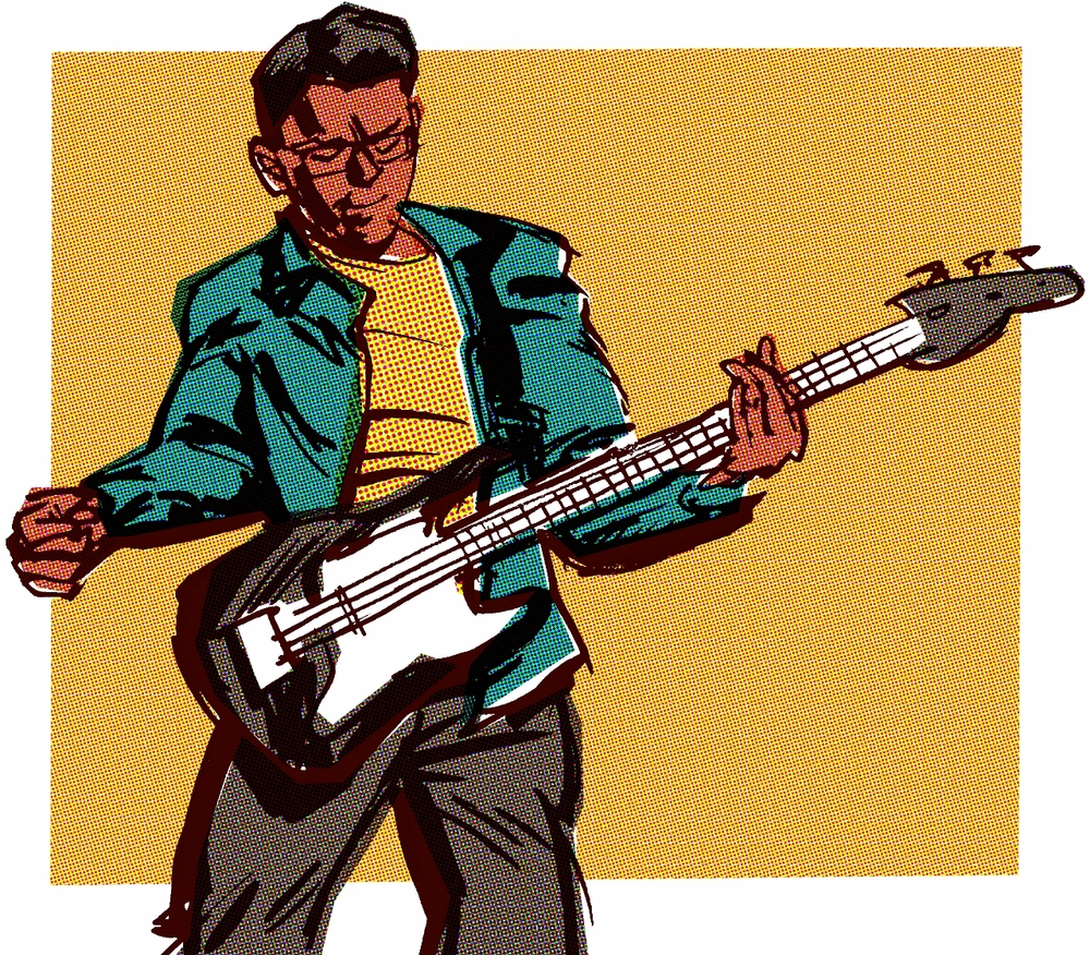 Bass player of the Cabarets, Illustration by Oisin McGillion Hughes