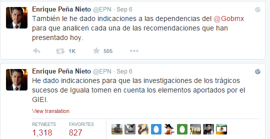 Enrique Peña Nieto Twitter feed after the release of the new investigation. He says that he has ordered the investigations of Iguala to take these new elements into account.