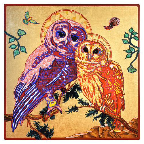 Spotted Owl Icon I , 16 in. x 16 in., Gouache & gold leaf on panel. 2017. ( As exhibited at the National Museum of Wildlife Art )