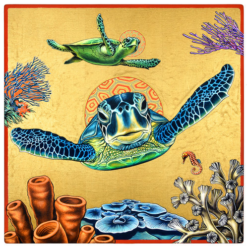 Turtle Icon , 16 in. x 16 in., Gouache & gold leaf on panel. 2018