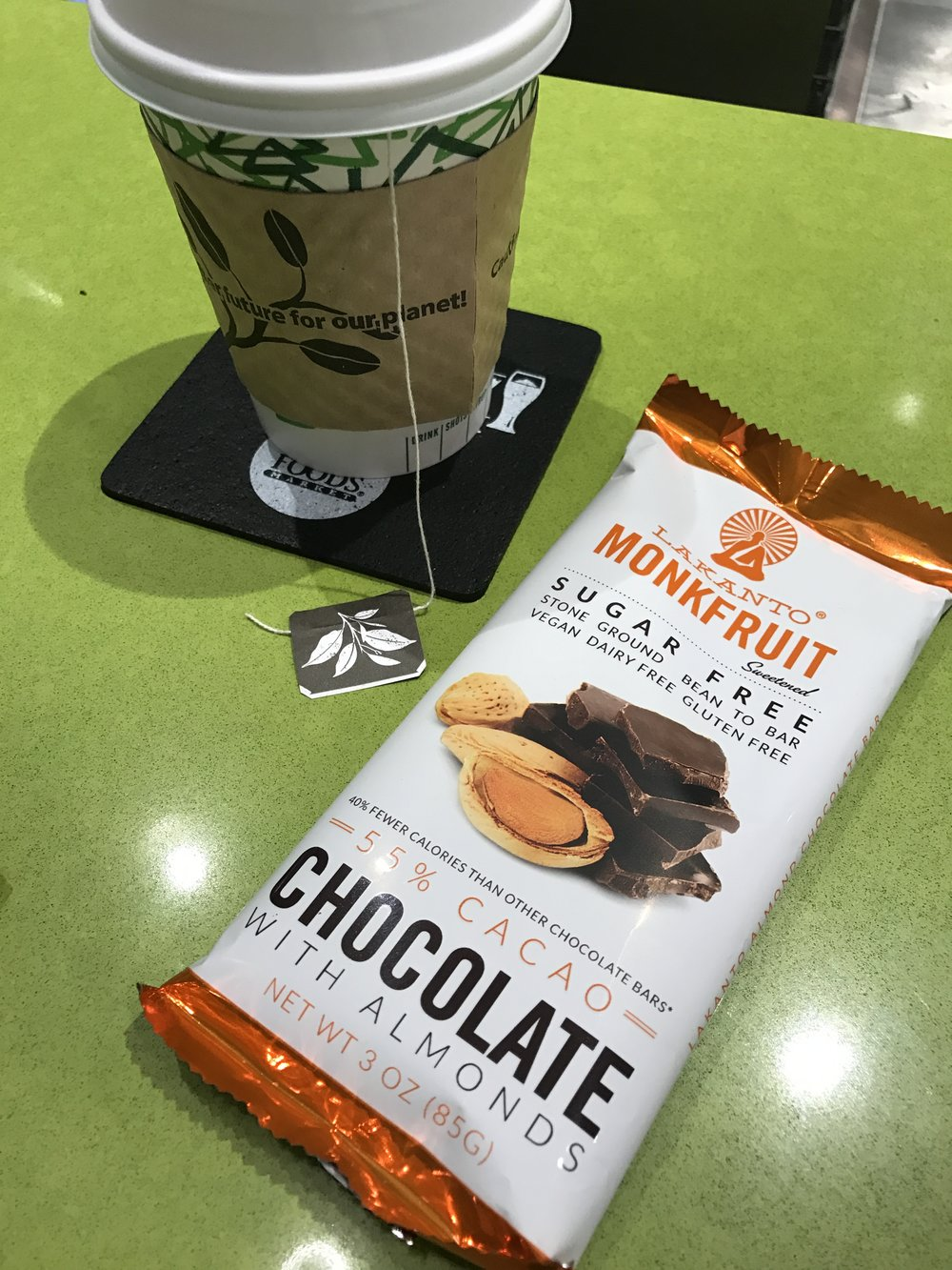 I drank some Jasmine Green Tea, which is rich in flavonoids,  and a had some Sugar Free  Chocolate with Almonds. This chocolate is sweetened with monkfruit, a natural food based sweetener. It's delicious by the way!