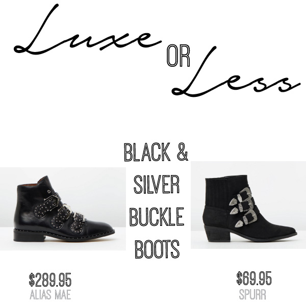 SHOP THESE: {LUXE} Nardia Leather Boots by Alias Mae $289.95 // {LESS} Alvina Western Buckles Ankle Boots by Spurr $69.95