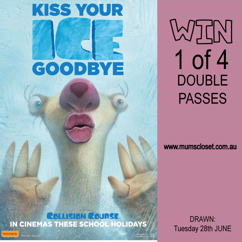 Win Ice Age Collision Course tickets on Mum's Closet the blog.
