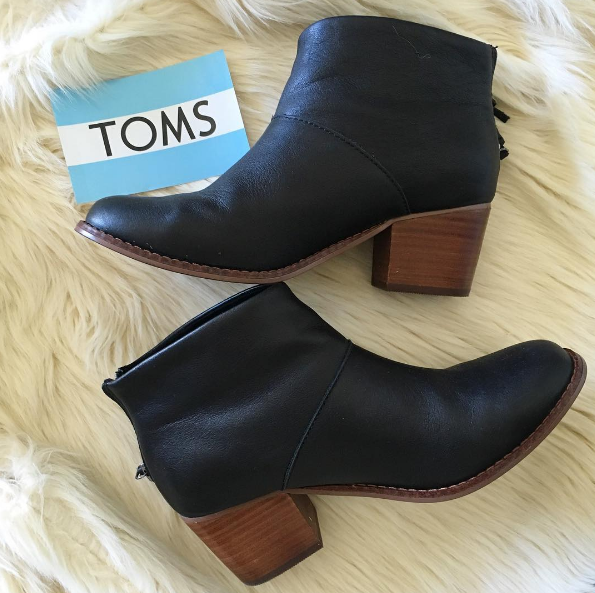 Wearing:TOMS Leather Ankle 'Leila' Boots $139 - BUY HERE. TOMS also donates one pair of shoes to someone in need for every pair sold.