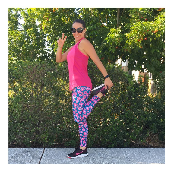 Wearing: Pink Punk Activewear Long Teal Leopard Tights $85 - I'm in size 10. BUY HERE.