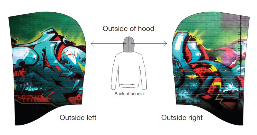 EWOK's hood was was created from a photo of one of his walls.