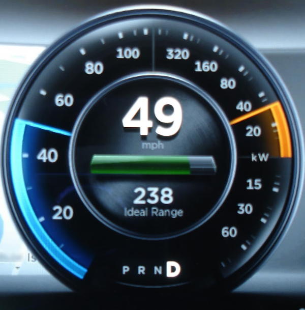 Current Tesla Model S speedometer/energy indicator (  myteslamodels.blogspot.com )