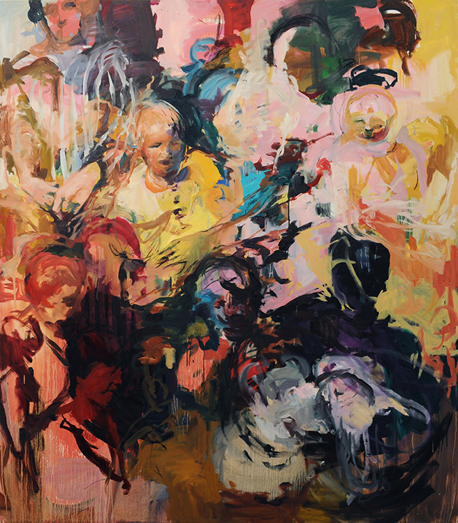 Audience to a Birth , oil on canvas, 62x72in, 2014