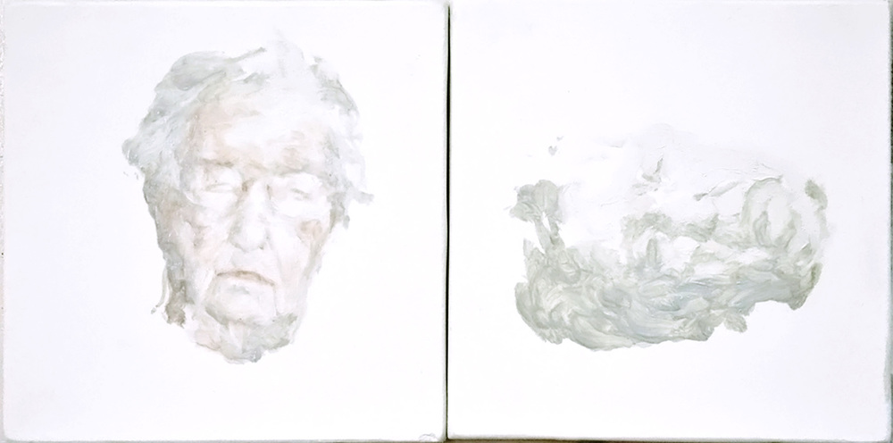 One and Other , oil on plaster, 4.5x9in, 2011