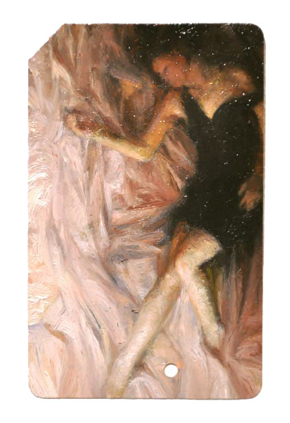 Single Fare 2 , oil on metrocard, 2x3.5in, 2011