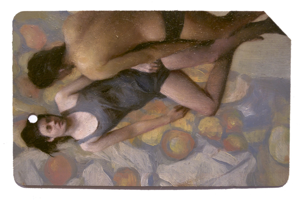 Tendidos 3 (Single Fare) , oil on metrocard, 2x3.5in, 2013