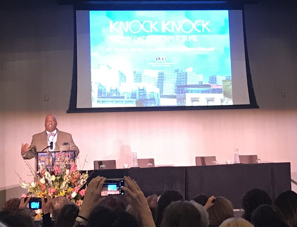 Bryan Collier addressing SCBWI at the national winter convention. Photo Credit: Liz Summit, 2017