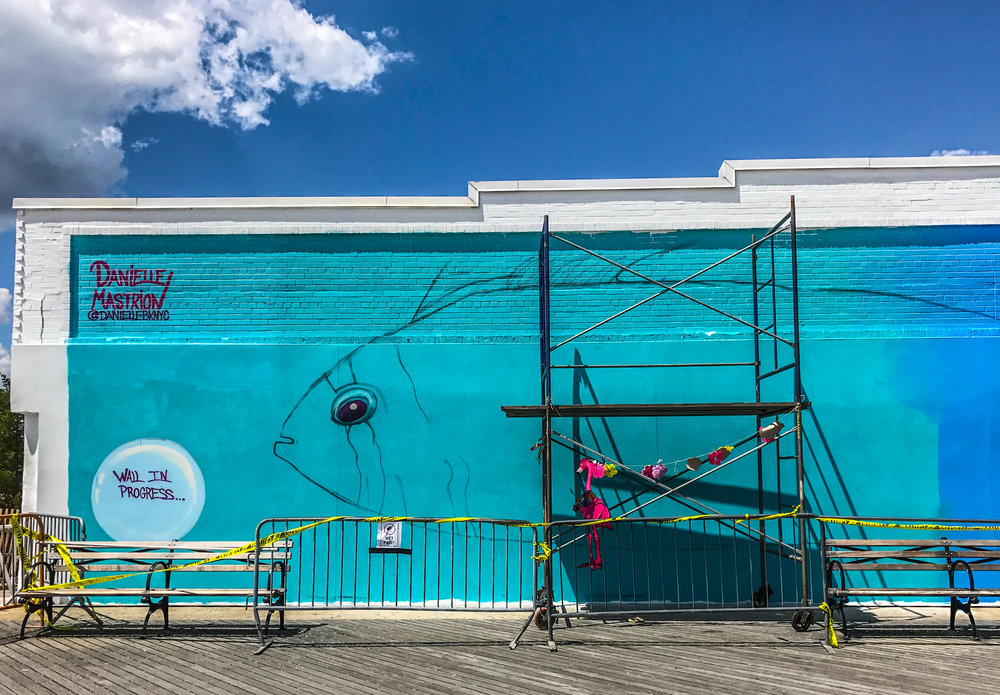 The beginning of Danielle Mastrion's mural. Photo Credit: Liz Summit, 2017