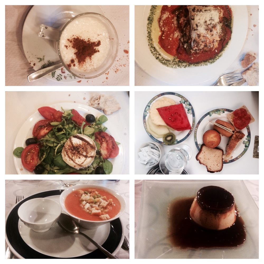 Arroz con leche, lasagna, e nsalada de queso de cabra , flan, gazpacho-  it was all delicious and beautiful!