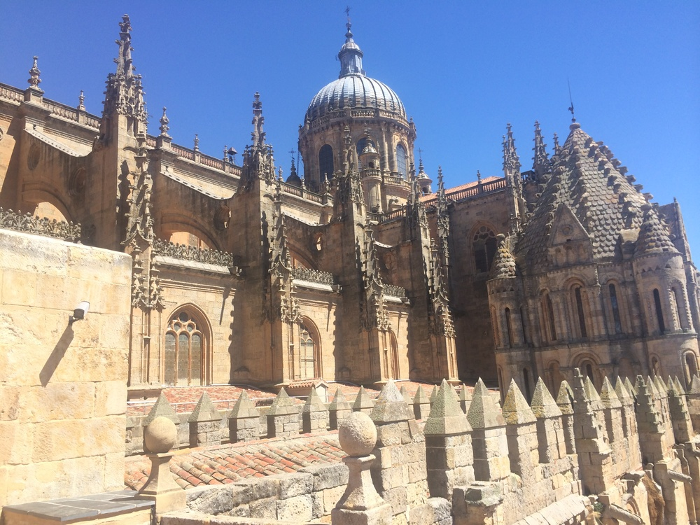 One of the cathedrals at Salamanca, as seen from a balcony halfway up it.