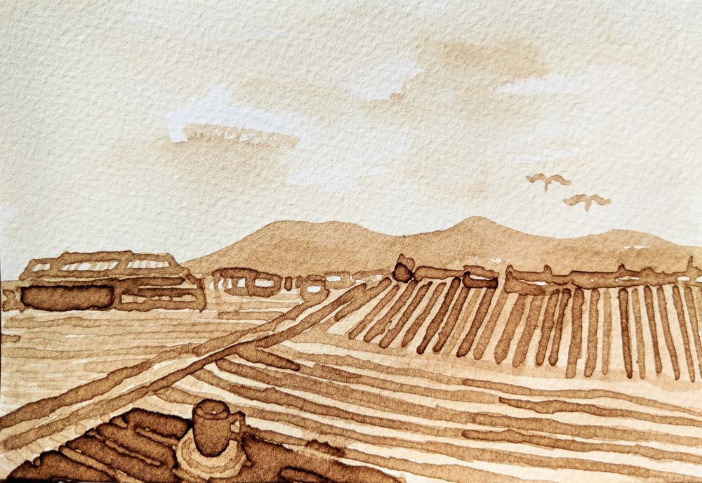 The view from Peter's Coffee shop in Xizhou, painted with coffee from Peter's. The coffee was grown and roasted in Yunnan.