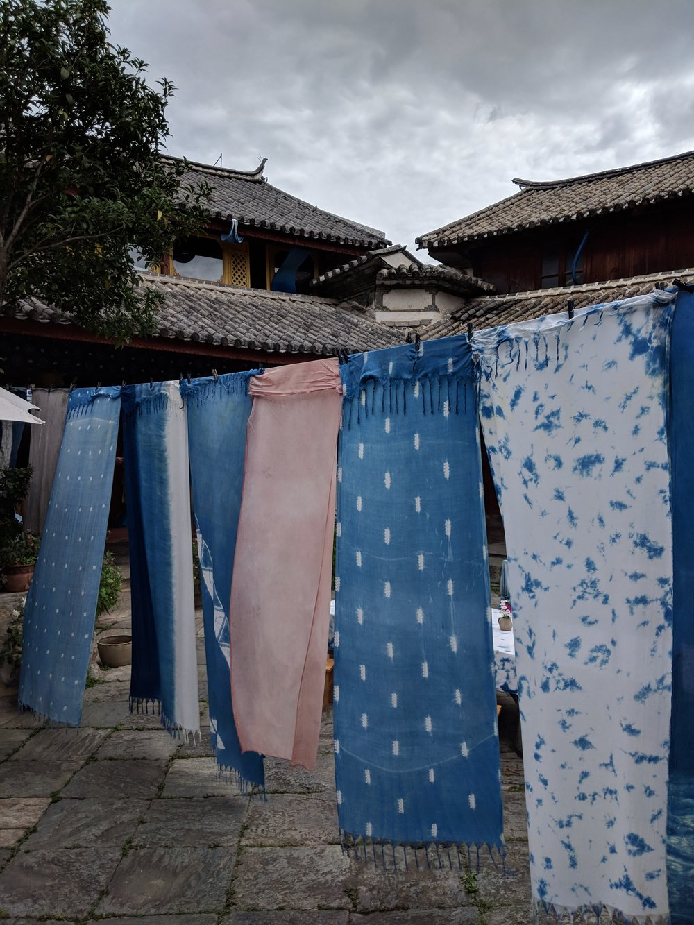 Indigo dyed fabric from the Lanxu Eco-Culture Development Center.