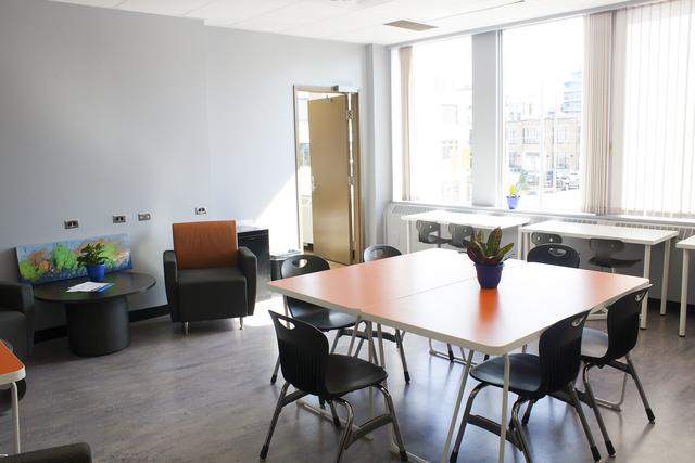 Photo of lounge at 44 Gaukel courtesy of  ArtsBuild Ontario